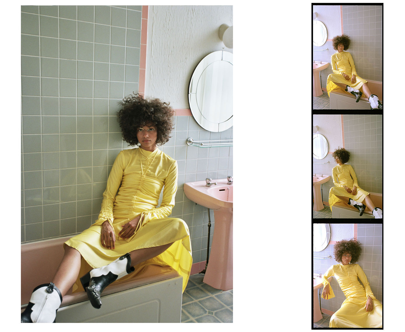 issie-gibbons-fashion-stylist-schon-walpole-bay-hotel-pastel-bathroom-yellow-cowboy-boots-richard-malone