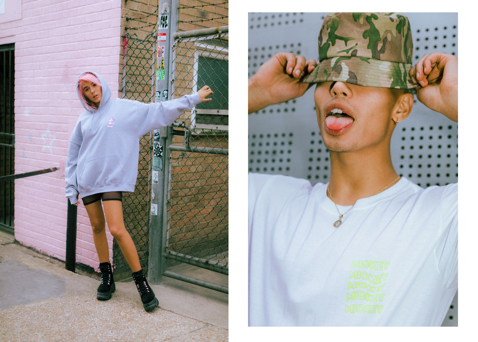 issie-gibbons-fashion-stylist-skinnydip-disney-campaign-grunge-bucket-hat-camo-fishnet